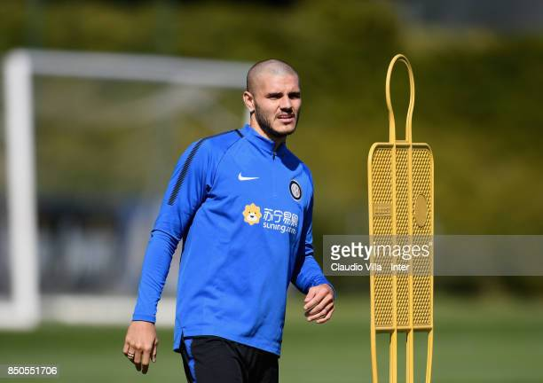 Mauro Icardi of FC Internazionale looks on during a training session at Suning Training Center at Appiano Gentile on September 21 2017 in Como Italy