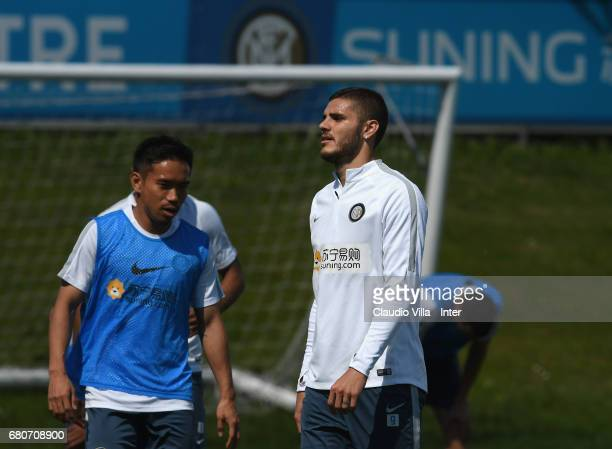 Mauro Icardi of FC Internazionale looks on during FC Internazionale training session at Suning Training Center at Appiano Gentile on May 09 2017 in...