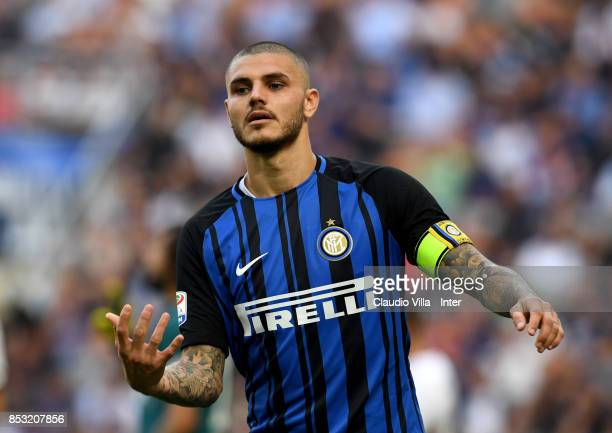 Mauro Icardi of FC Internazionale looks on during the Serie A match between FC Internazionale and Genoa CFC at Stadio Giuseppe Meazza on September 24...