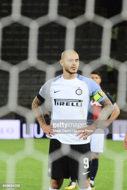 Mauro Icardi of FC Internazionale looks on prior to taking a penalty during the Serie A match between Bologna FC and FC Internazionale at Stadio...