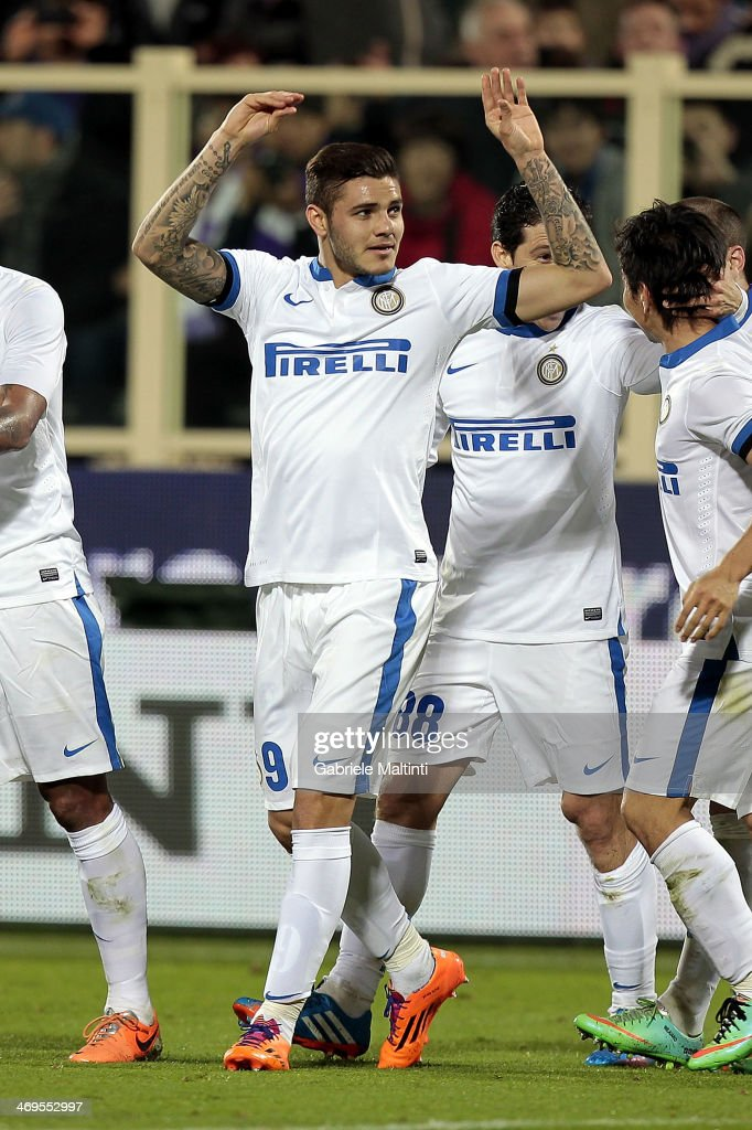 Mauro Icardi of FC Internazionale Milano celebrates after scoring a goal during the Serie A match between ACF Fiorentina and FC Internazionale Milano at Stadio Artemio Franchi on February 15, 2014 in Florence, Italy.