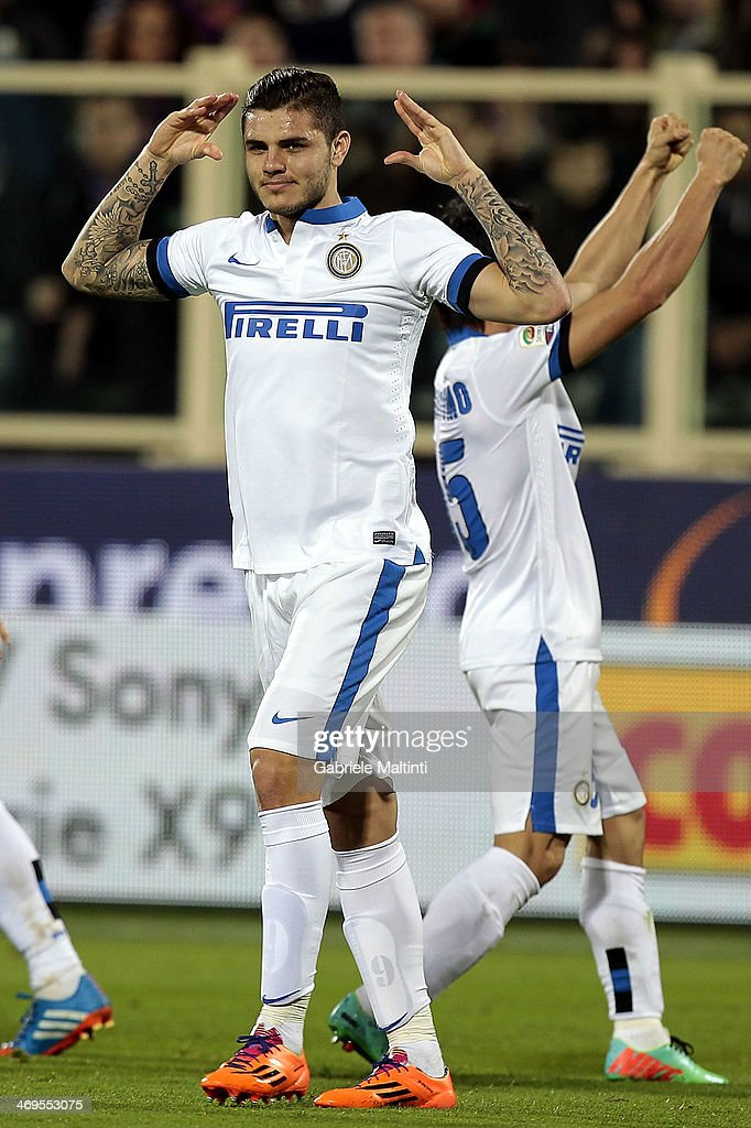 <a gi-track='captionPersonalityLinkClicked' href=/galleries/search?phrase=Mauro+Icardi&family=editorial&specificpeople=9761957 ng-click='$event.stopPropagation()'>Mauro Icardi</a> of FC Internazionale Milano celebrates after scoring a goal during the Serie A match between ACF Fiorentina and FC Internazionale Milano at Stadio Artemio Franchi on February 15, 2014 in Florence, Italy.