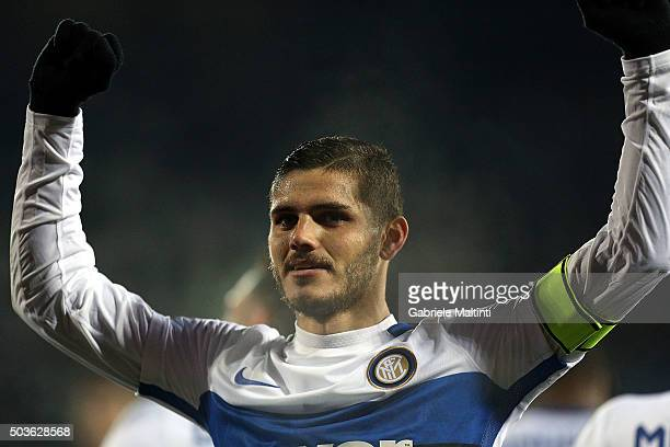 Mauro Icardi of FC Internazionale Milano celebrates after scoring a goal during the Serie A match between Empoli FC and FC Internazionale Milano at...