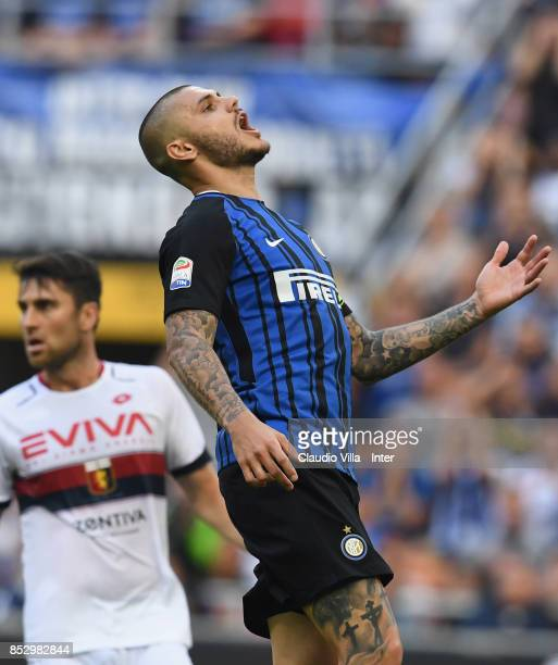 Mauro Icardi of FC Internazionale reacts during the Serie A match between FC Internazionale and Genoa CFC at Stadio Giuseppe Meazza on September 24...