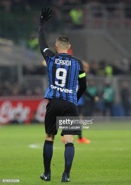 Mauro Icardi of FC Internazionale reacts during the Serie A match between FC Internazionale and Atalanta BC at Stadio Giuseppe Meazza on November 19...