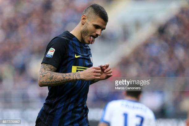 Mauro Icardi of FC Internazionale showing the tongue during the Serie A match between FC Internazionale and Atalanta BC at Stadio Giuseppe Meazza...