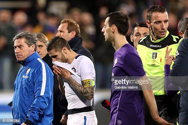 Mauro Icardi of FC Internazionale shows his dejection during the Serie A match between ACF Fiorentina and FC Internazionale Milano at Stadio Artemio...