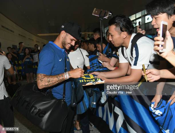 Mauro Icardi of FC Internazionale signs autographs for fans at Nanjing International Airport on July 19 2017 in Nanjing China