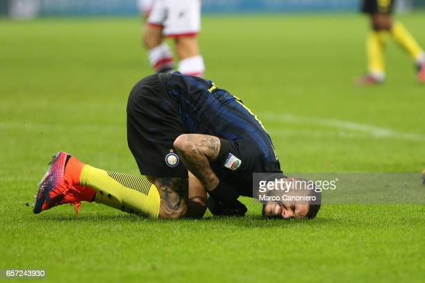 Mauro Icardi of Fc Internazionale sore after a game fight during the Serie A match between FC Internazionale and FC Crotone Internazionale won 30...