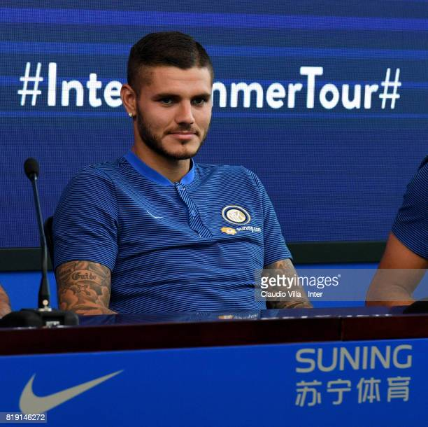 Mauro Icardi of FC Internazionale speaks with a media during a press conference at Suning Training Center on July 20 2017 in Nanjing China