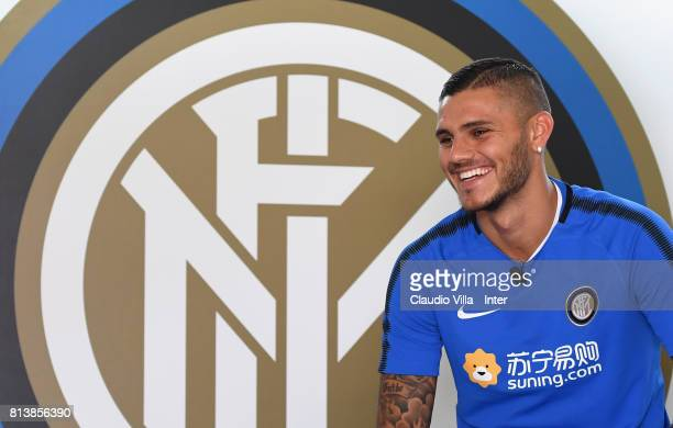 Mauro Icardi of FC Internazionale speaks with the media during a press conference on July 13 2017 in Reischach near Bruneck Italy