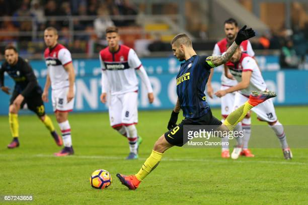 Mauro Icardi of Fc Internazionale takes the penalty during the Serie A match between FC Internazionale and FC Crotone Internazionale won 30 over...