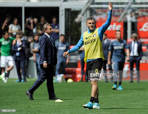Mauro Icardi of Inter player and Stefano Vecchi of Inter coach during the warmup before the Serie A match between FC Internazionale and US Sassuolo...