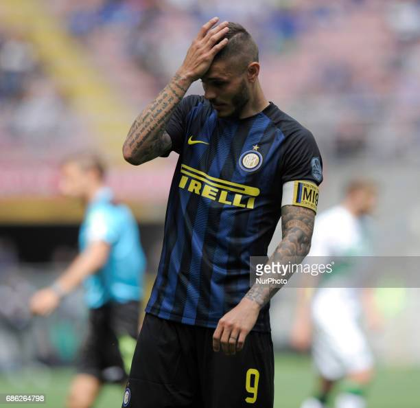 Mauro Icardi of Inter player during the Serie A match between FC Internazionale and US Sassuolo at Stadio Giuseppe Meazza on May 14 2017 in Milan...