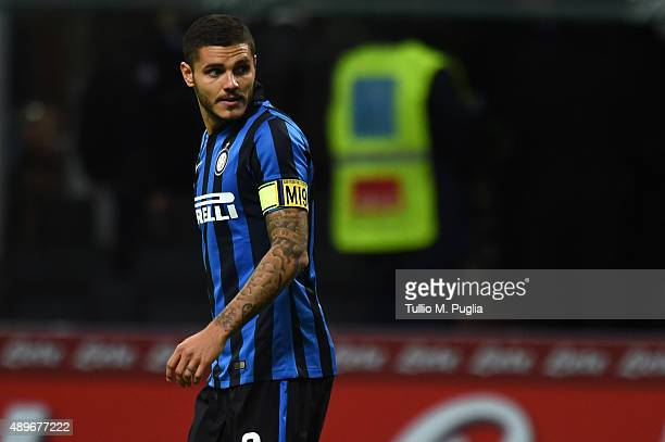 Mauro Icardi of Internazionale Milano looks on during the Serie A match between FC Internazionale Milano and Hellas Verona FC at Stadio Giuseppe...