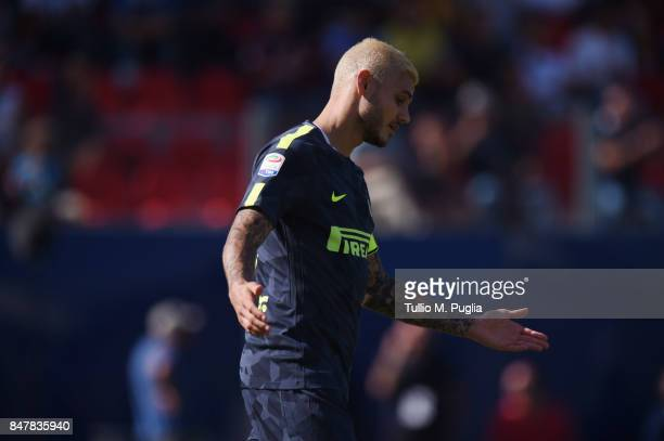 Mauro Icardi of Internazionale reacts during the Serie A match between FC Crotone and FC Internazionale at Stadio Comunale Ezio Scida on September 16...