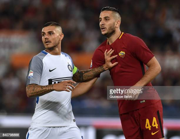 Mauro Manuel Icardi of FC Internazionale and Kostas Manolas of AS Roma in action during the Serie A match between AS Roma and FC Internazionale at...
