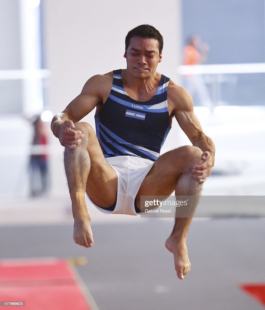 Mauro Martinez of Argentina competes in the Men's Vault during day five of the X South American Games Santiago 2014 at Gimnasio Polideportivo Estadio Nacional on March 11, 2014 in Santiago, Chile.