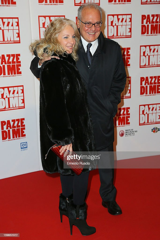 Mauro Mazza and his wife attend the 'Pazze di Me' premiere at Teatro Sistina on January 21, 2013 in Rome, Italy.