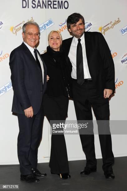 Mauro Mazza Director of Rai 1 TV presenter Antonella Clerici and Gianmarco Mazzi attend the 60th San Remo Song Festival 2010 press conference on...