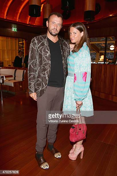 Mauro Porcini and guest attend Lampoon cocktail and private dinner on April 18 2015 in Milan Italy