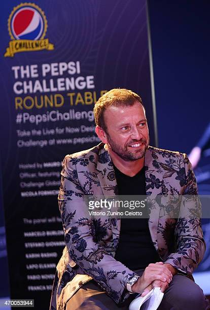 Mauro Porcini moderates the #PepsiChallenge Round Table At The PepsiCo 'Mix It Up' Space During Milan Design Week on April 17 2015 in Milan Italy
