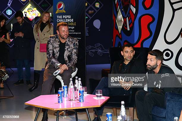Mauro Porcini Nicola Formichetti and Marcelo Burlon participate in the #PepsiChallenge Round Table At The PepsiCo 'Mix It Up' Space During Milan...
