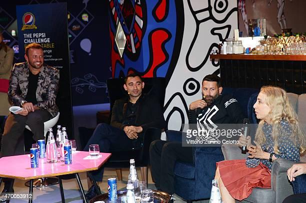 Mauro Porcini Nicola Formichetti Marcelo Burlon and Franca Sozzani participate in the #PepsiChallenge Round Table At The PepsiCo 'Mix It Up' Space...