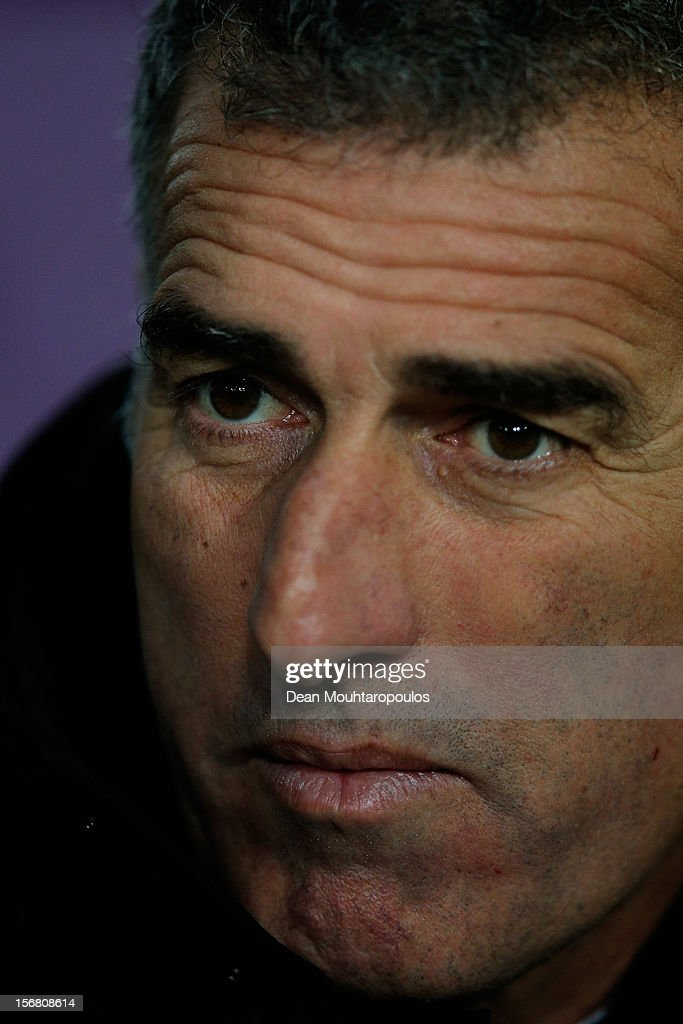 Mauro Tassotti, AC Milan assistant coach looks on during the UEFA Champions League Group C match between RSC Anderlecht and AC Milan at the Constant Vanden Stock Stadium on November 21, 2012 in Anderlecht, Belgium.