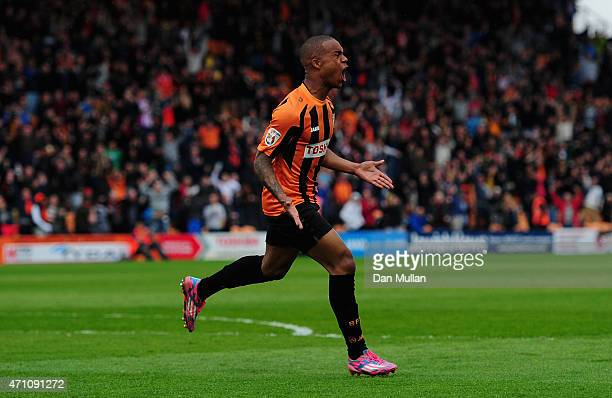 Mauro Vilhete of Barnet celebrates after scoring his side's second goal during the Vanarama Football Conference League match between Barnet and...