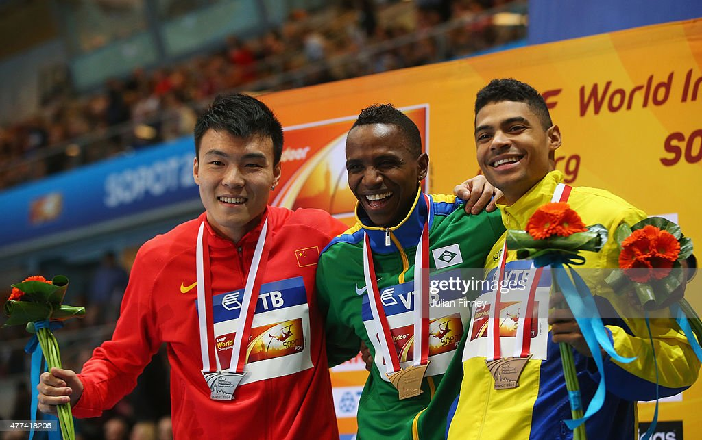 Mauro Vinicius da Silva of Brazil poses with his gold medal and silver medalist Jinzhe Li of China and bronze medalist Michel Torneus of Sweden during the medal ceremony for the Men's Long Jump during day three of the IAAF World Indoor Championships at Ergo Arena on March 9, 2014 in Sopot, Poland.