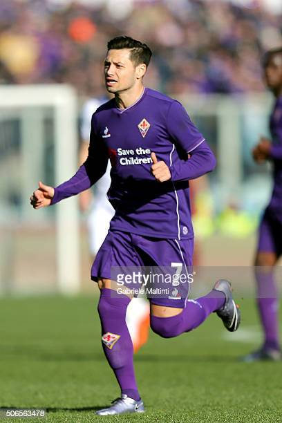 Mauro Zarate of ACF Fiorentina in action during the Serie A match between ACF Fiorentina and Torino FC at Stadio Artemio Franchi on January 24 2016...