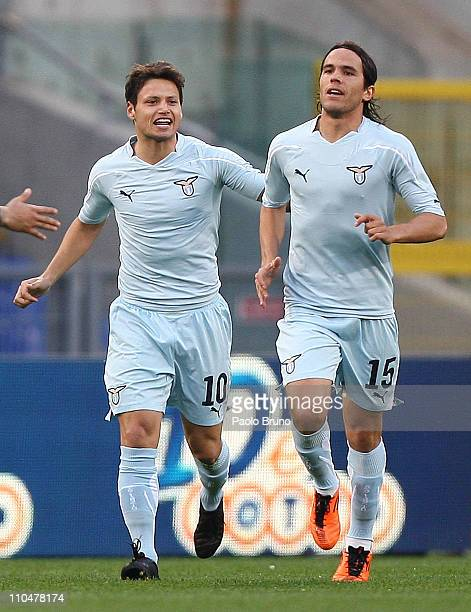 Mauro Zarate of SS Lazio celebrates with teammate Alvaro Gonzalez after scoring the opening goal of the Serie A match between SS Lazio and AC Cesena...