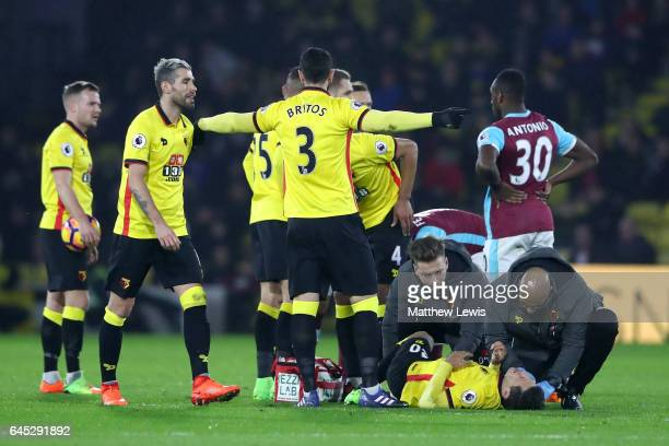 Mauro Zarate of Watford is givens assistance during the Premier League match between Watford and West Ham United at Vicarage Road on February 25 2017...