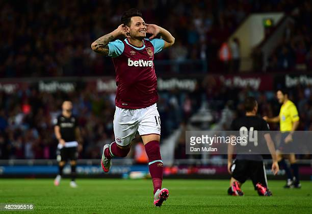 Mauro Zarate of West Ham celebrates scoring his side's second goal during the UEFA Europa League third qualifying round match between West Ham United...