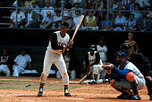 Maury Wills of the Pittsburgh Pirates bats against the Los Angeles Dodgers during an Major League Baseball game circa 1967 at Forbes Field in...