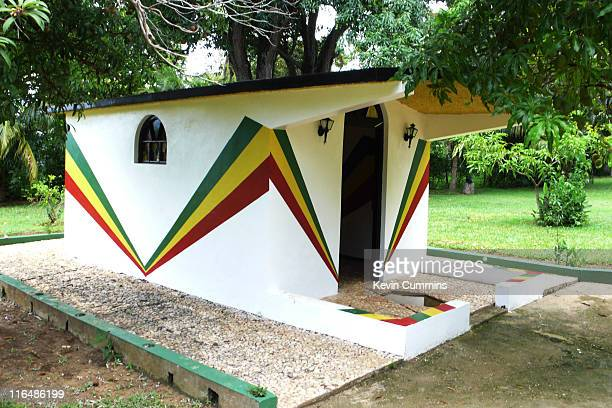 Mausoleum for reggae musician Peter Tosh in the grounds of his former house in Belmont Jamaica 3rd June 2011