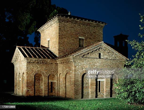 Mausoleum of Galla Placidia circa 450 AD night Ravenna EmiliaRomagna Italy