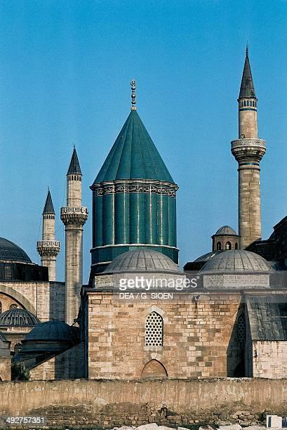 Mausoleum of Jalal adDin Muhammad Rumi 13th century and minaret Konya Turkey Detail