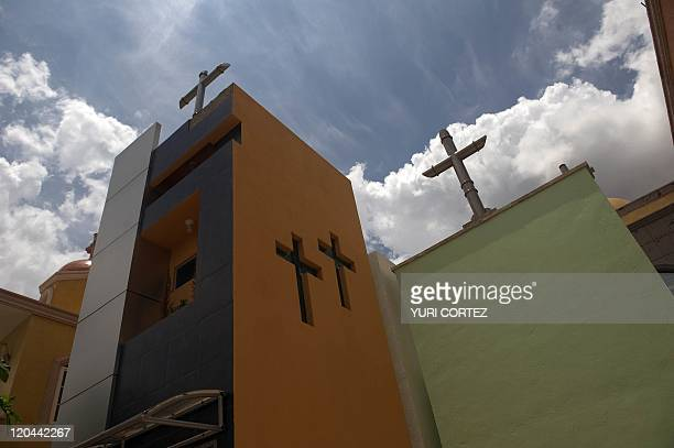 Mausoleums at the 'Humaya Gardens' cementery on July 13 2011 in Culiacan Sinaloa state Mexico In a private cemetery in Sinaloa the Jardines de Humaya...