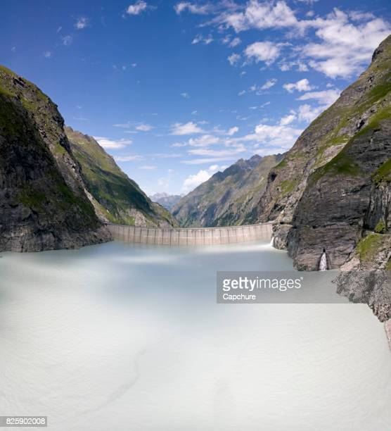 Mauvoisin Dam and Lake in Bagnes in the Valais region of the Swiss Alps.