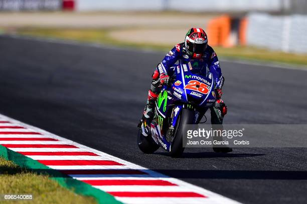 Maverick Viñales of Movistar Yamaha Moto GP team riding his bike during the Free Practice 3 Moto GP of Catalunya at Circuit de Catalunya on June 10...