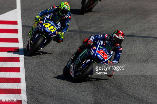 25 Maverick Vinales from Spain of Movistar Yamaha MotoGP and 46 Valentino Rossi from Italy of Movistar Yamaha Moto GP during the Monter Energy...