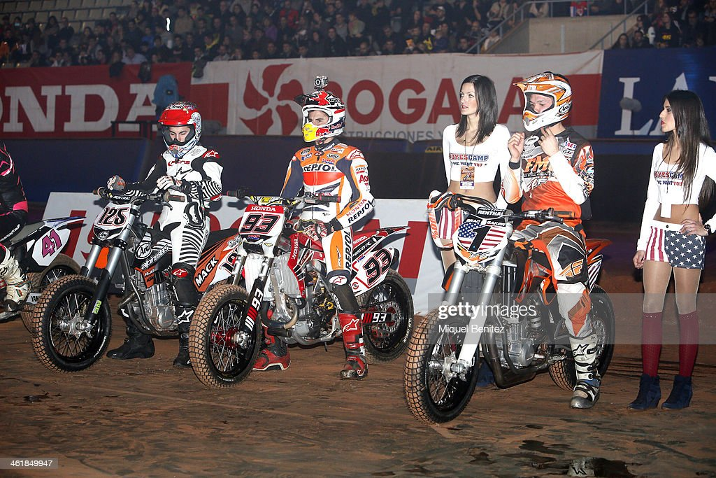 )L-R) Maverick Vinales, Marc Marquez and Brad 'The Bullet' Baker during the startup's the Superprestigio Dirt Track Race at the Palau of Sant Jordi on January 11, 2014 in Barcelona, Spain.