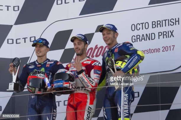 Maverick Vinales of Spain and Movistar Yamaha MotoGP Andrea Dovizioso of Italy and Ducati Team and Valentino Rossi of Italy and Movistar Yamaha...