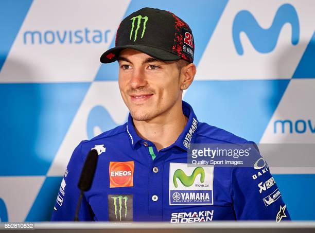 Maverick Vinales of Spain and Movistar Yamaha MotoGP at the press conference during qualifying for the MotoGP of Aragon at Motorland Aragon Circuit...