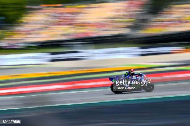 Maverick Vinales of Spain and Movistar Yamaha MotoGP during a free practice ahead of qualifying at Circuit de Catalunya on June 10 2017 in Montmelo...