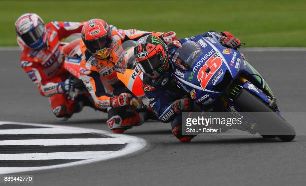 Maverick Vinales of Spain and Movistar Yamaha MotoGP during Free Practice 3 at Silverstone Circuit on August 26 2017 in Northampton England