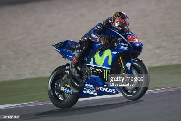 Maverick Vinales of Spain and Movistar Yamaha MotoGP heads down a straight during the MotoGP Tests In Losail at Losail Circuit on March 12 2017 in...