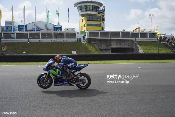 Maverick Vinales of Spain and Movistar Yamaha MotoGP heads down a straight during the MotoGP race during the MotoGp of Germany Race at Sachsenring...